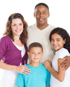 Photograph of smiling multi racial family